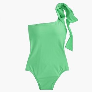 J. Crew Bow Tie One Shoulder Swimsuit Size 8